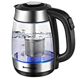 Electric Kettles with Tea Infuser, 1.7L Electric Tea Kettle Temperature Control, 1500W Fast Heating Glass Water Boiler for Tea Coffee with STRIX Controller, Cordless, Auto Shut-Off & Boil-Dry Protection, BPA Free for Safety Drinking (Borosilicate Glass)