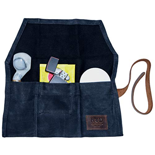 Hide & Drink, Waxed Canvas Pipe Pouch/Cigar& Tobacco Bag/Smoking Pipe Bag, Handmade :: Charcoal Black