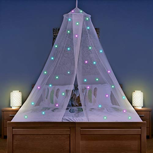 UB-STORE Bed Canopy for Girls with 50 Stick-On Glow in The Dark Stars - Princess Mosquito Net Room Decor with 2 Openings - Kids & Baby Bedroom Tent with Galaxy Lights - Hanging Kit Included