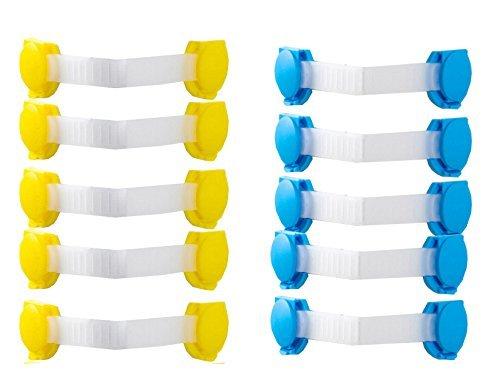 JUNGEN 10 Pcs Bloque Angle droit Fermoirs securities Adhesives enfant bébé pour portes de placards, tiroir en forme d'ours (bleu,jaune)