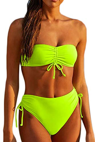 Haloon Womens Ruched Front Bandeau Bikini High Waisted Swimsuits Neon Yellow M