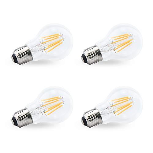 Bonlux lampadine led e27 luce calda vintage, Consumo Basso 12-36V 6W, A60 lampadina bianco caldo 2700K, Equivalenti a 75W, Non Dimmerabile (confezione da 4)