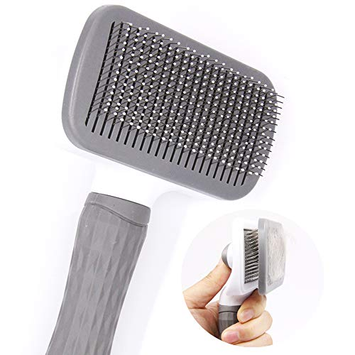 FymuSing Self Cleaning Pet Brush for Dog and Cat, Grooming Brush with Long and Soft Hair