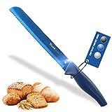 wanbasion Azul Cuchillo de Pan Largo Pequeño de Cocina, Cuchillo de Pan Profesional Acero Inoxidable, Cuchillo de Pan Sierra de Cocina Cortar 20 cm