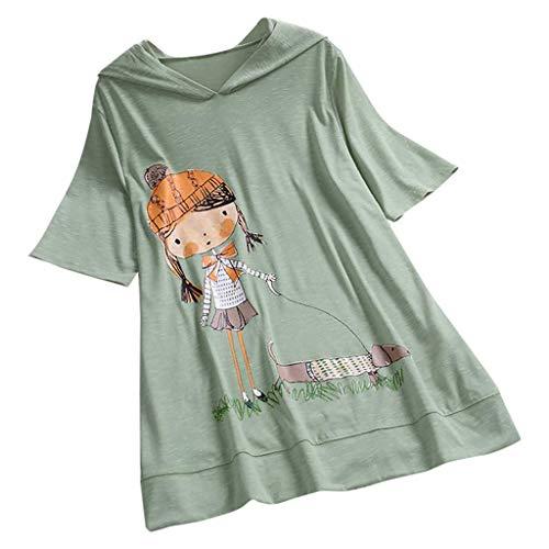 VEMOW Camiseta de Manga Corta con Capucha y Estampado de Dibujos Animados Casual para Mujer tamaño Extra Top Blusa(Menta Verde,5XL)