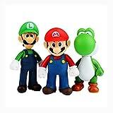 Set of 3 Pcs Super Mario Bros Luigi, Mario, Yoshi Action Figures Toy, 4.7''