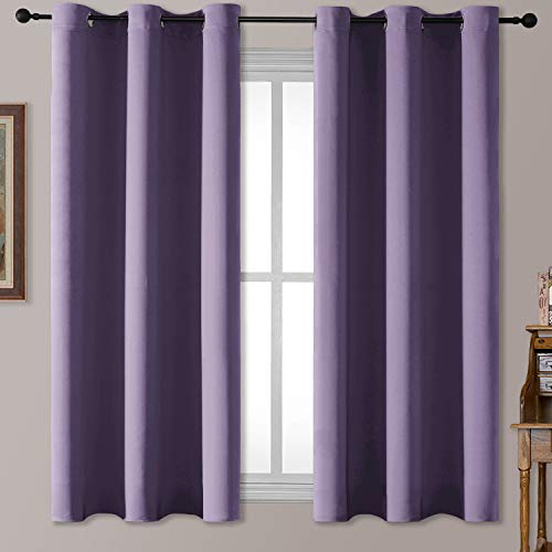 Rutterllow Blackout Curtains for Bedroom, Thermal Insulated Room Darkening Curtains 2 Panels for Living Room, Grommet Top (42x63 Inch, Purple)