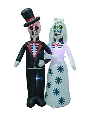 AJY 6 Feet Day of The Dead Couple Halloween Inflatable LED Lights Decor Outdoor Indoor Holiday Decorations,Blow up…