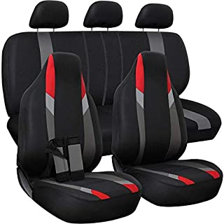 Motorup America Auto Seat Cover Full Set - Fits Select Vehicles Car Truck Van SUV - Black/Red/Gray