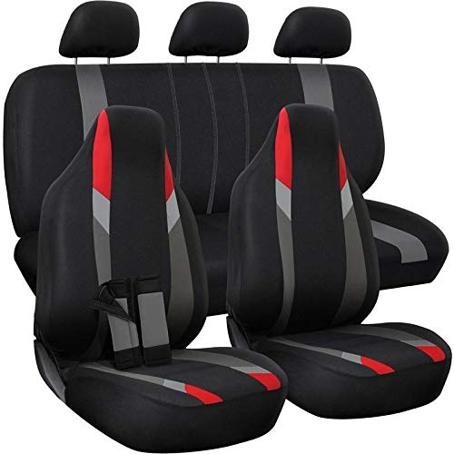Motorup America Auto Seat Cover Full Set - Fits Select Vehicles Car Truck Van SUV - Newly Designed Mesh - Red/Gray/Black
