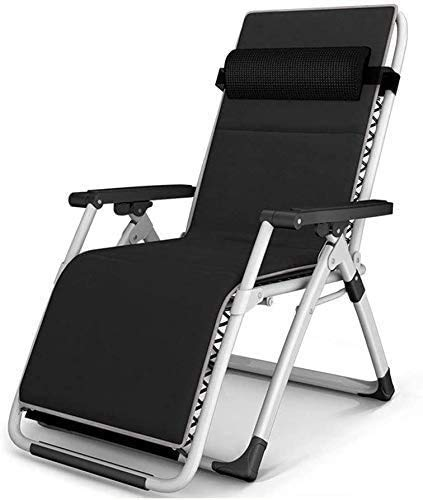 Tumbonas de jardín, sillas de jardín, plegable, reclinable, con cojines, silla reclinable plegable al aire libre, para jardín, patio, piscina, 200 kg (color negro), color negro