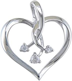 10kt White Gold Diamond Heart Diamond Pendant with 18