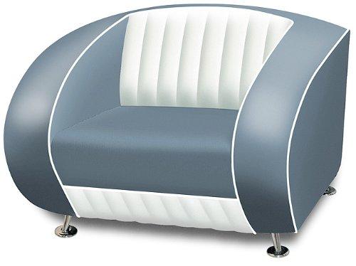 Fauteuil américain style rétro usa 50 fauteuil design restaurant (bleu/blanc)
