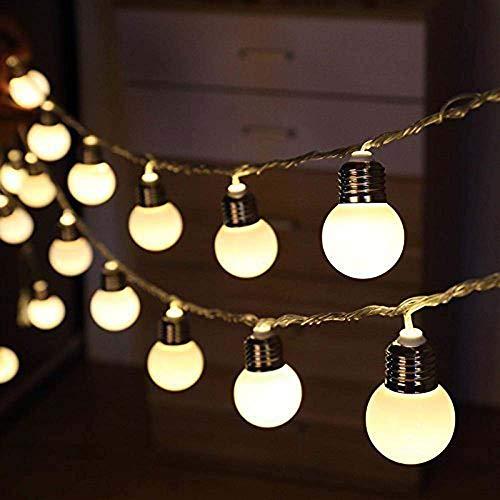 Allamp Solar Powered 10/20/30 LED G50 Globe String Fairy Light Festoon Bulb Christmas String Light Outdoor Body Party Garning Guirnalda (Emitting Color : Warm White, Wattage : 3.5M 10leds)