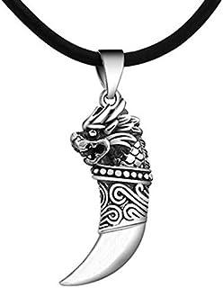 قلادة سوداء من خليط معدني بتصميم أسنان الذئب للرجال