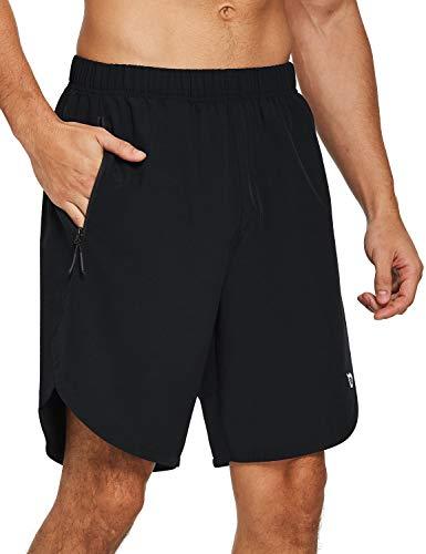 BALEAF Men's 8' Athletic Workout Running Shorts Quick Dry Zipper Pockets Gym Short Unlined UPF 50+ Black Size XL