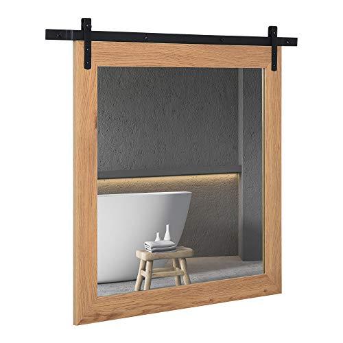 HOMCOM Badezimmerspiegel Wandspiegel Holz Badspiegel mit Gleitschiene Industriestil Metall Spanplatte Schwarz+Natur 84 x 2 x 74 cm