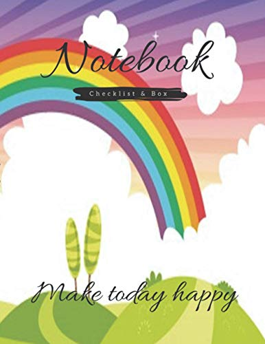 Checklist & Box Notebook journal, Vector ilustration colorful nature scene cover, 120 pages - Large(8.5 x 11 inches)