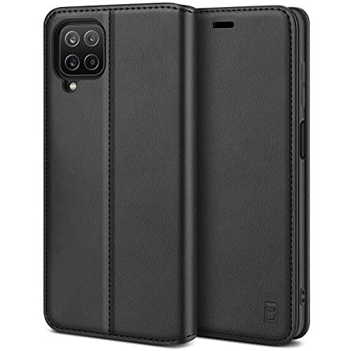 BEZ Handyhülle für Samsung A12 Hülle, Premium Tasche Kompatibel für Samsung Galaxy A12, Schutzhüllen aus Klappetui mit Kreditkartenhaltern, Ständer, Magnetverschluss, Schwarz
