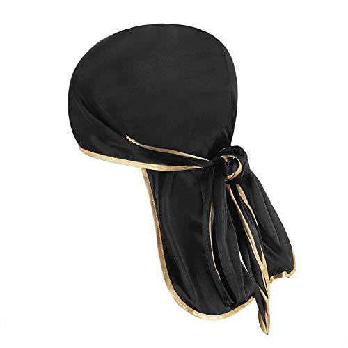 JIAHG Langer Bandana Cap Hat Piratenhut Kopftuch Herren Damen Piratenmütze Bikertuch Stirnband Fahrrad Radsport Motorrad Kopfbedeckung Mütze (Schwarz Seiden) - 2