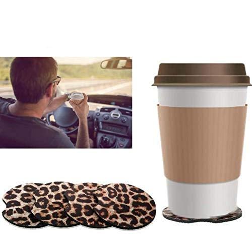 VENTDOUCE 4 Stück Car Coasters 2,56 Zoll Leopard Car Coasters Neopren Cup Coaster Gummi Car Cup Pad Matte mit Einer Fingerkerbe zum einfachen Entfernen von Auto Cup Holder Coaster