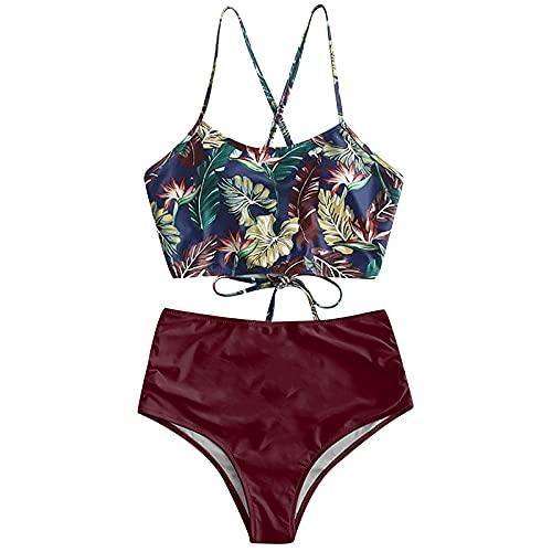 Bikini Mujer con Relleno y Push Up Sexy Bikini Cintura Alta Estampado Halter Conjunto Bikini Mujer Traje de baño de Playa Bikini de Verano (Vino,XL)