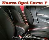 Filocar Design Bracciolo Nuova Corsa F 2020 con portaoggetti Integrato (Tessuto Nero con Cuciture Rosse).