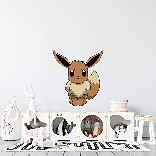DS Inspirational Decals Pocket Monster Eevee Vinyl Wall Art Decal | 19' x 20' Kids Bedroom Nursery Game Gotta Catch Em All Adhesive Decor Design Removable Home Decoration Sticker