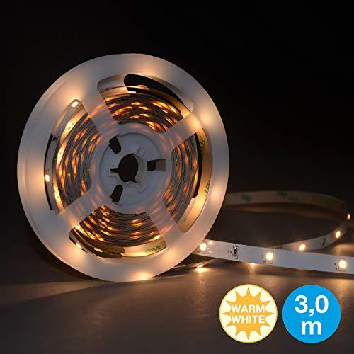Briloner Leuchten 2260-090P 3m Band, Licht-leiste selbstklebend, 10 W, 90x LED, Kabelschalter, Driver, inklusiv 1,8m Kabel, Lebensdauer: 50.000 Std, Plastik, Weiß, 300 x 80 x 0.5 cm