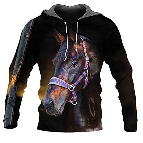 BSDASH Übergroße Sweatshirt Männer Frauen 3D Hoodies Print Black Horse Tiermuster Pullover Unisex Casual Hoodies CLO-TD102402-LMS M