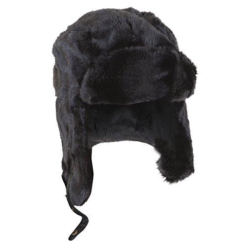 Textiles Universels Bonnet Trappeur Thermique Noir en Fausse Fourrure - Homme (59cm) (Noir)