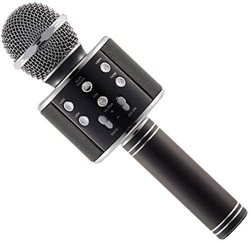 Mindmaker® Bluetooth karaoke SpeakerWS-858 Wireless Bluetooth Microphone Recording Condenser Handheld Microphone Stand with Bluetooth Speaker Audio Recording for Cellphone Karaoke Mice