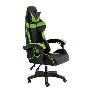 RAC TLV-GC030-GREEN Silla Gaming PC Videojuegos Racing Oficina Escritorio Despacho Sillon Gamer, Negro-Verde