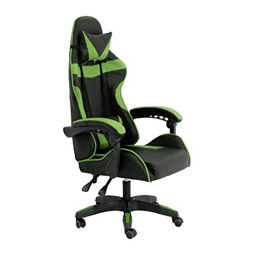 RAC TLV-GC030-GREEN Silla Gaming PC Videojuegos Racing Oficina Escritorio Despacho Sillon Gamer, Negro - Verde