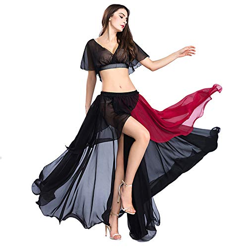 ROYAL SMEELA Faldas largas Danza del Vientre Disfraces sexys Mujer Traje de Gasa Tops y Falda Color de Golpe Bailarín de práctica Trajes de Vestir Falda Maxi Top Danza
