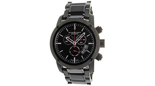 B U R B E R R Y Men\'s Sport Chronograph Black Dial Steel Strap Watch BU7703