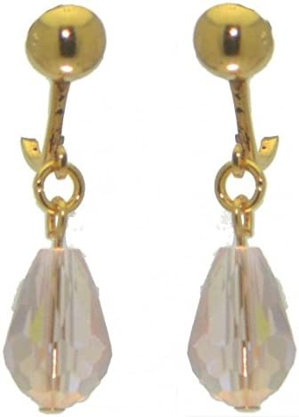 BETRESH gold plated pink ab crystal glass clip on earrings