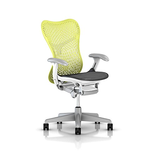 Herman Miller Mirra 2 Task Chair: Standard Tilt - Fixed Seat Depth - Non-Adj Back Support - TriFlex Back - Fixed Arms - Fog Base/Studio White Frame