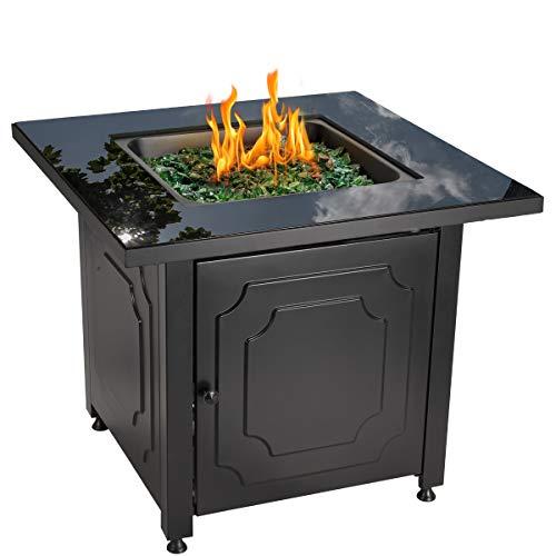 Endless Summer 30' Outdoor Propane Gas Black Glass Top Fire Pit (Green Fire Glass)