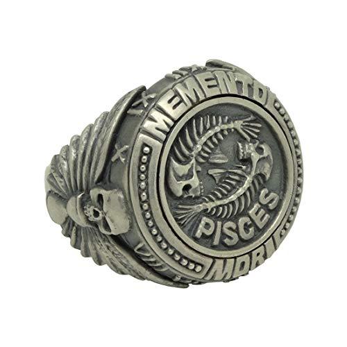 Pisces zodiac sign sterling silver 925 horoscope skull men's ring Masonic memento mori (R 1/2)