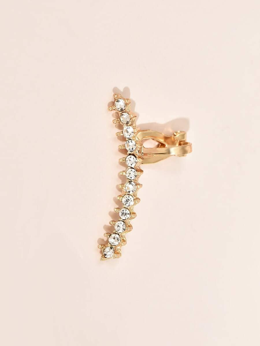kgjsdf Hoop Earrings 1pc Rhinestone Decor Ear Cuff (Color : Gold)
