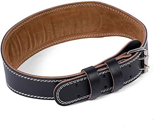 Cinturón de levantamiento de pesas acolchado de cuero profesional, cinturón de levantamiento de pesas para entrenamiento de gimnasio, soporte lumbar estable para levantamiento de pesas (negro, M)