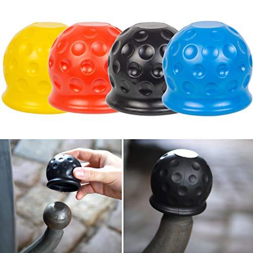 Anhängerkupplung Abdeckung, universal für Kugelkopfkupplungen bis Ø 50 mm, 4 Pack, aus Gummi, in Golfball-Form, Witterungsbeständig und Waschanlagenfest, Anhängerkupplung Schutzkappe, Kugelschutzkappe