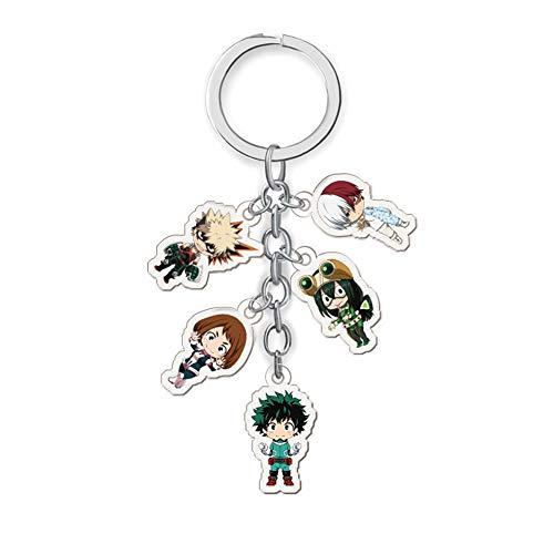 My Hero Academia Keychain, Japanese Anime Kawaii Acrylic Keyring with 5 Pendants