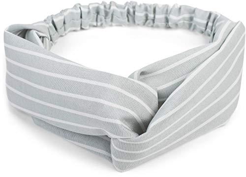 styleBREAKER Damen Haarband mit Streifen Muster, Twist Knoten und Gummizug, Stirnband, Headband, Pinup, Rockabilly 04026038, Farbe:Hellgrau