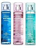 Bath and Body Works 3 Pack Fine Fragrance Mist 8 Oz. Underwater Oasis, Pink Coconut Calypso and Papaya Paradise Cove. Travel Size Creme 1 Oz.