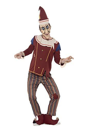 Smiffys 45576L - Herren Kasper Kostüm, Oberteil, Hose, Hut, Stiefel Überzieher und Latex Maske, Größe: L, mehrfarbig