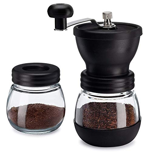 Manual Coffee Bean Grinder with Ceramic Conical Burr Mill, 2 Glass Jars Ceramic Burr, for Drip Coffee, Turkish Brew, Espresso, French Press, Home Travel or Camping