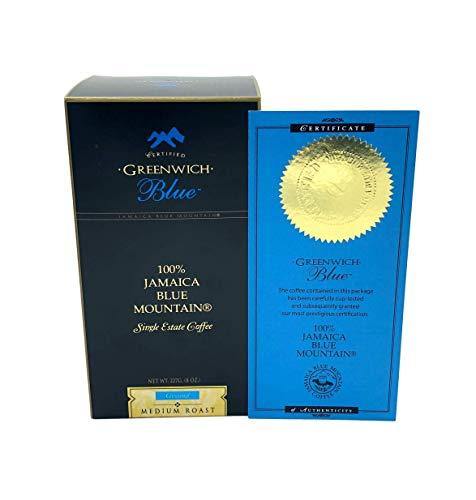 Greenwich Blue Rare Single Origin 100 Percent Jamaican Blue Mountain Coffee with Certificate of Authenticity 8 Ounce Medium Roast Ground
