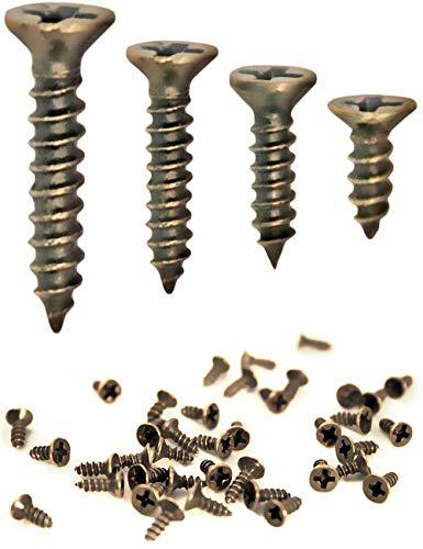 FUXXER® - 100x Antike Holz-Schrauben, Messing Bronze Antik-Optik, Kreuz-Schlitz, Kreuz-Schrauben, Senk-Kopf, Selbst-Schneidend, 100er Set (3 x 12 mm)